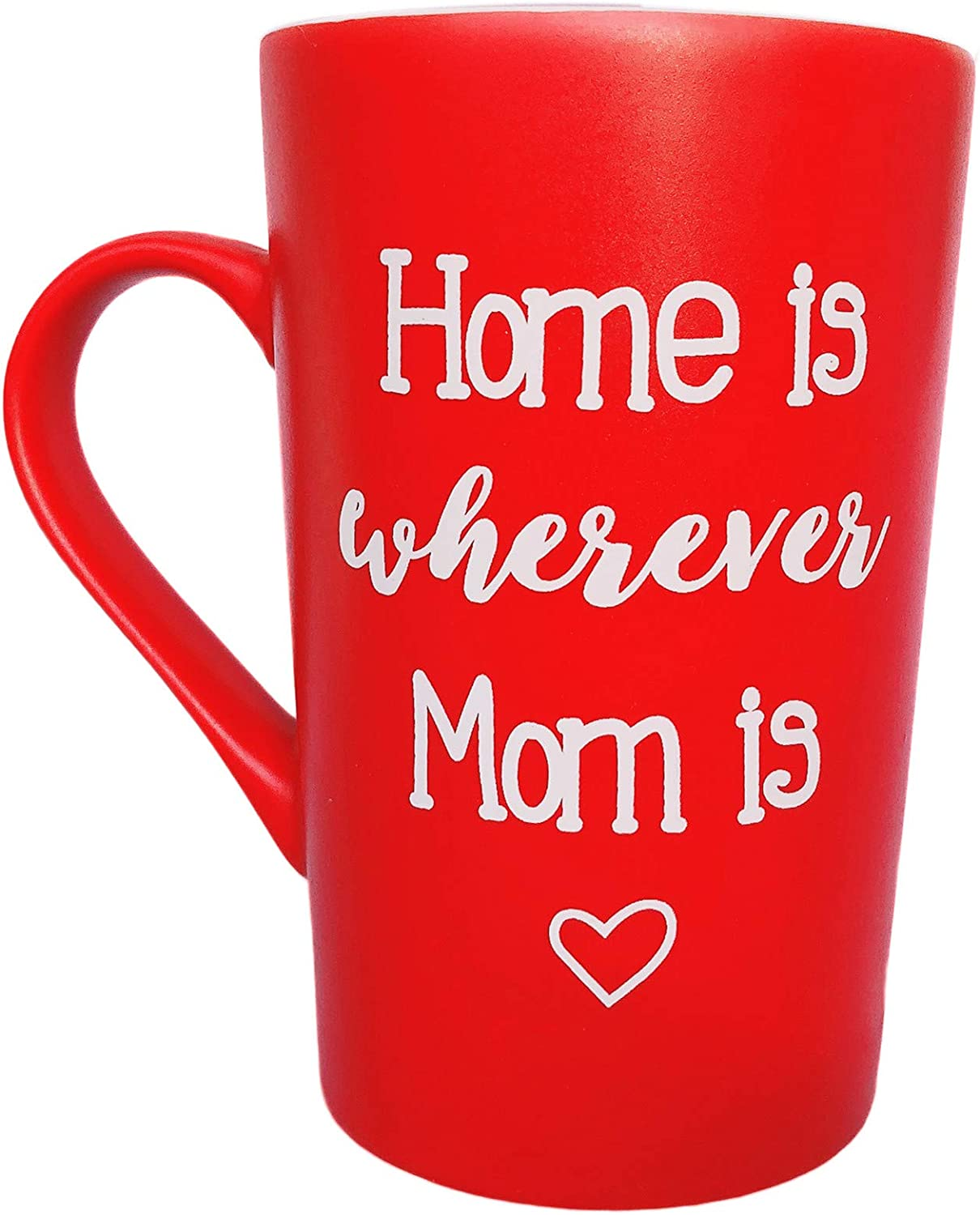 MAUAG Mothers Day Gifts Funny Inspirational Coffee Mug for Mom, Home Is Wherever Mom Is Cute Present from Daughter or Son Fun Cup Red, 12 Oz