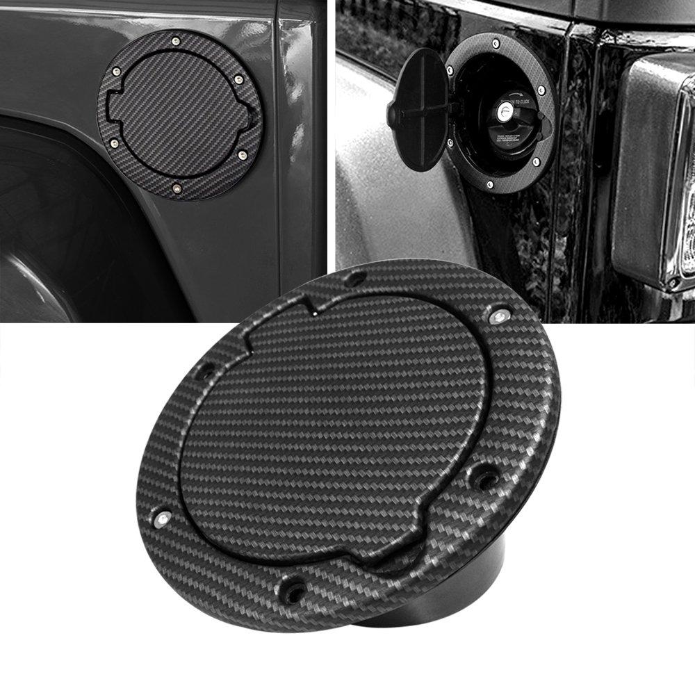 American 4wheel 2007 – 2018 Jeep Wrangler JK JKU Gas Cap Cover Fuel Door Cover Gas Tank Jeep Wrangler Accessories JK JKU & Unlimited Rubicon Sahara Sports (Carbon Fiber)