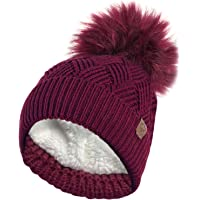 RockJock Ladies Warm Chunky Diamond Cable Knit Hat with Thermal Teddy Fleece Lining and Detachable Faux Fur Pompom