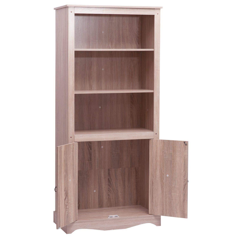 Libreria grande in legno di quercia rustico con scaffali alti in legno massiccio Generic hel Rustic Oak ak Sh