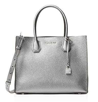 cbf82b2a80e6 Amazon.com: MICHAEL Michael Kors Mercer Large Leather Convertible Tote  Light Pewter: Shoes