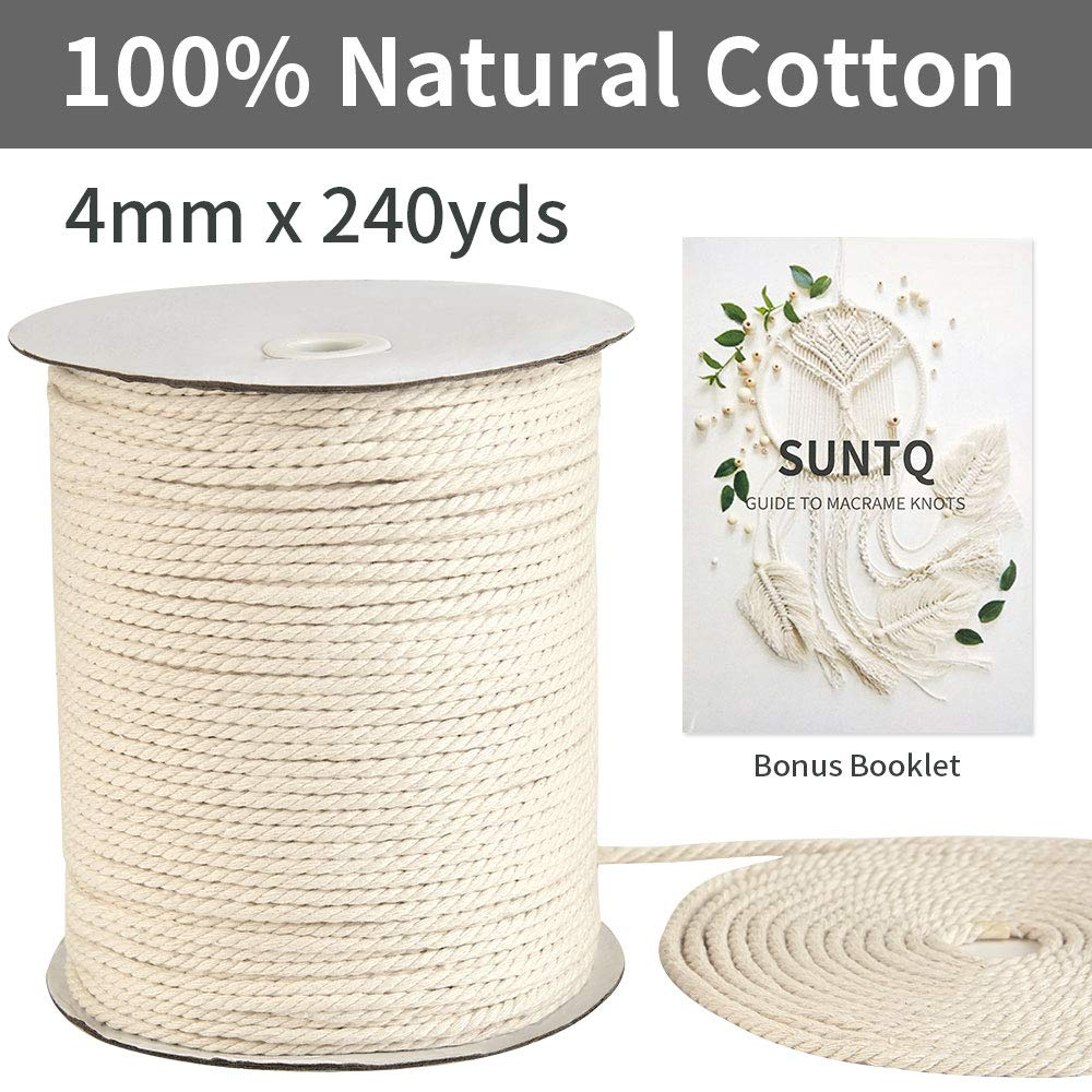 4mm x240yd Beige, 3-Strand Twisted SUNTQ Handmade Decorations Natural Cotton Bohemia Macrame Cord DIY Wall Hanging Plant Hanger Craft Making Knitting Rope Natural Color Beige Macram/é Cord/…