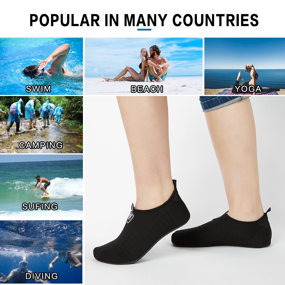 Mens Water Shoes Adult Beach Volleyball Wide Lake Slip On Aqua Quick Dry Lightweight Athletic Sandals Foot Water Shoes Swimming Pool Weights Women Men Size 9 10 11 Black by Aiken (Image #8)