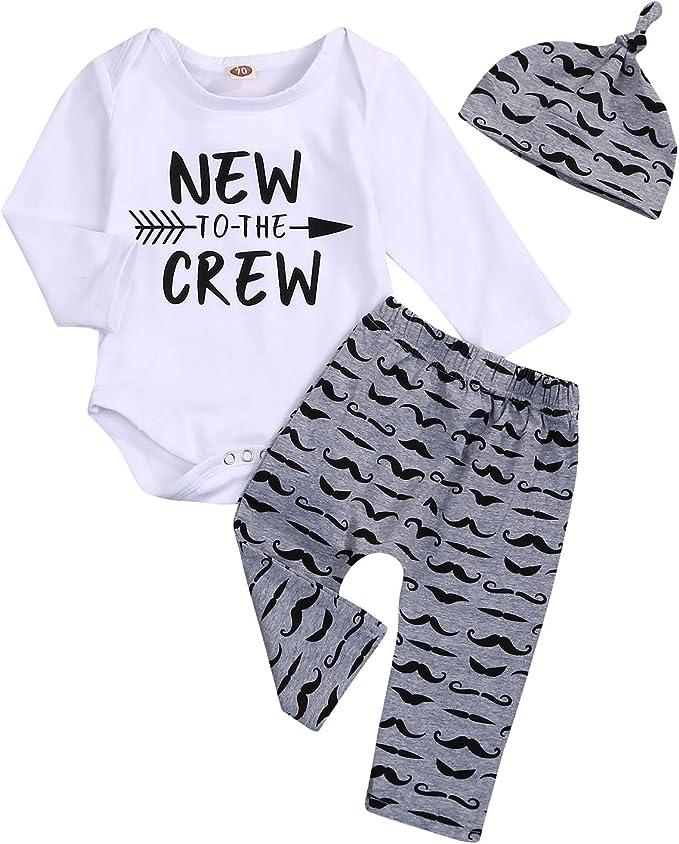 Newborn Baby Boy Clothes Outfit Hipster Bowtie Strap Short Sleeve Bodysuit Moustache Pants Hat 3Pcs Outfits Set