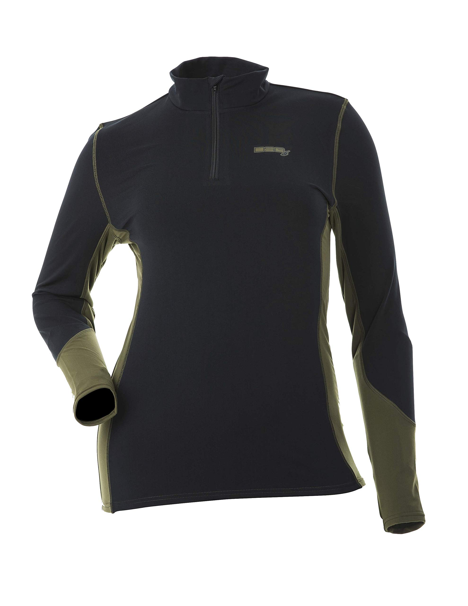 DSG Outerwear Women's Hunting D-Tech Base Layer Shirt - Black/Olive (2XL) by DSG Outerwear