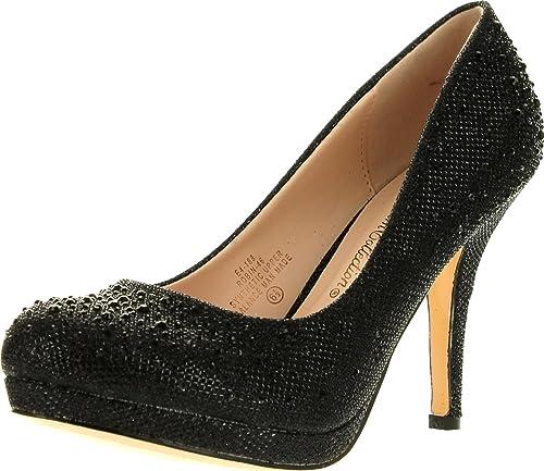 b95245ff7d87 Blossom Womens Robin46 Rhinestone Sparkle Glitter Formal Evening Classic  Low Heel Pumps,Black,5.5