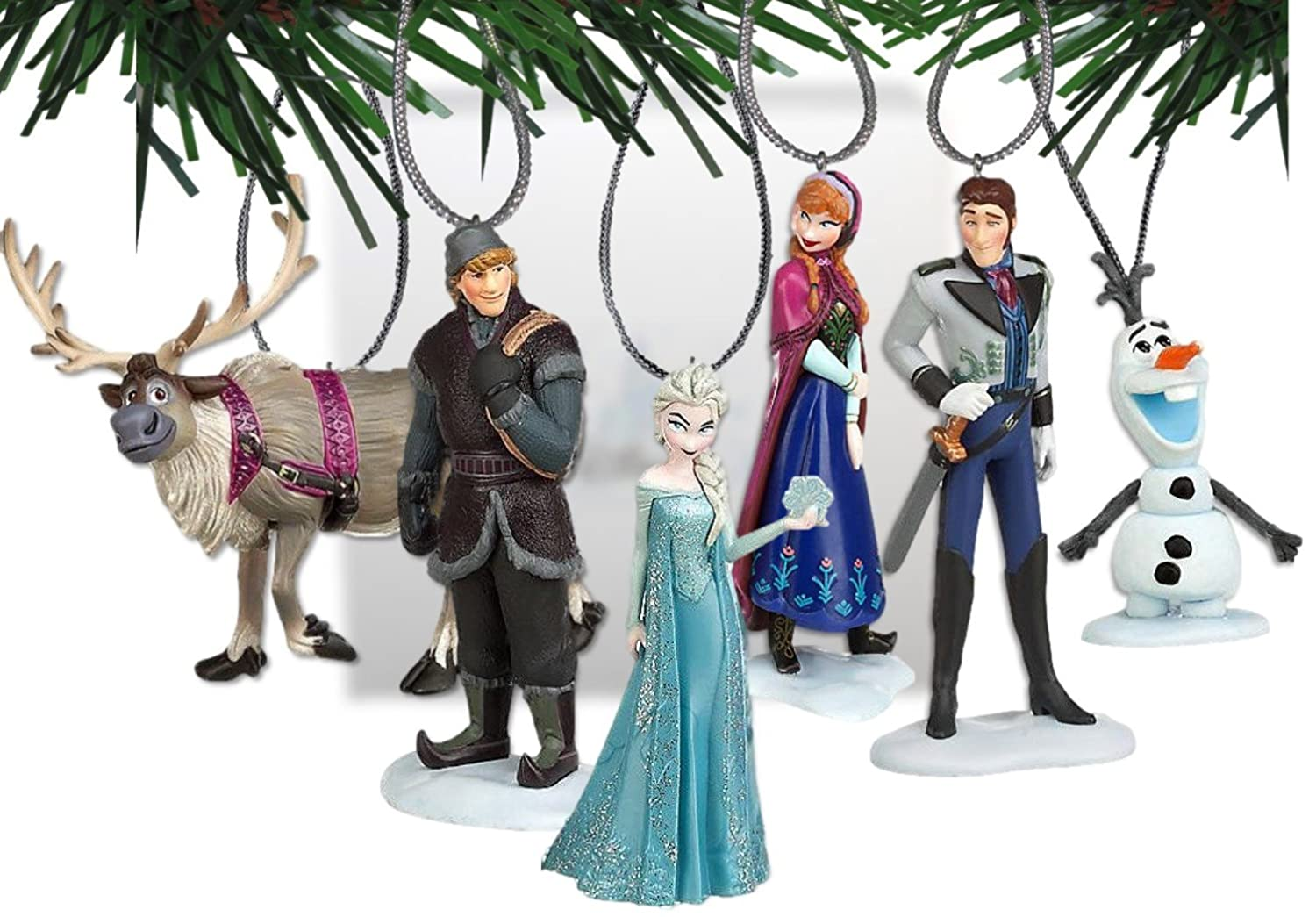 Amazon.com: Disney's Frozen Holiday Ornament Set- (6) PVC Figure ...