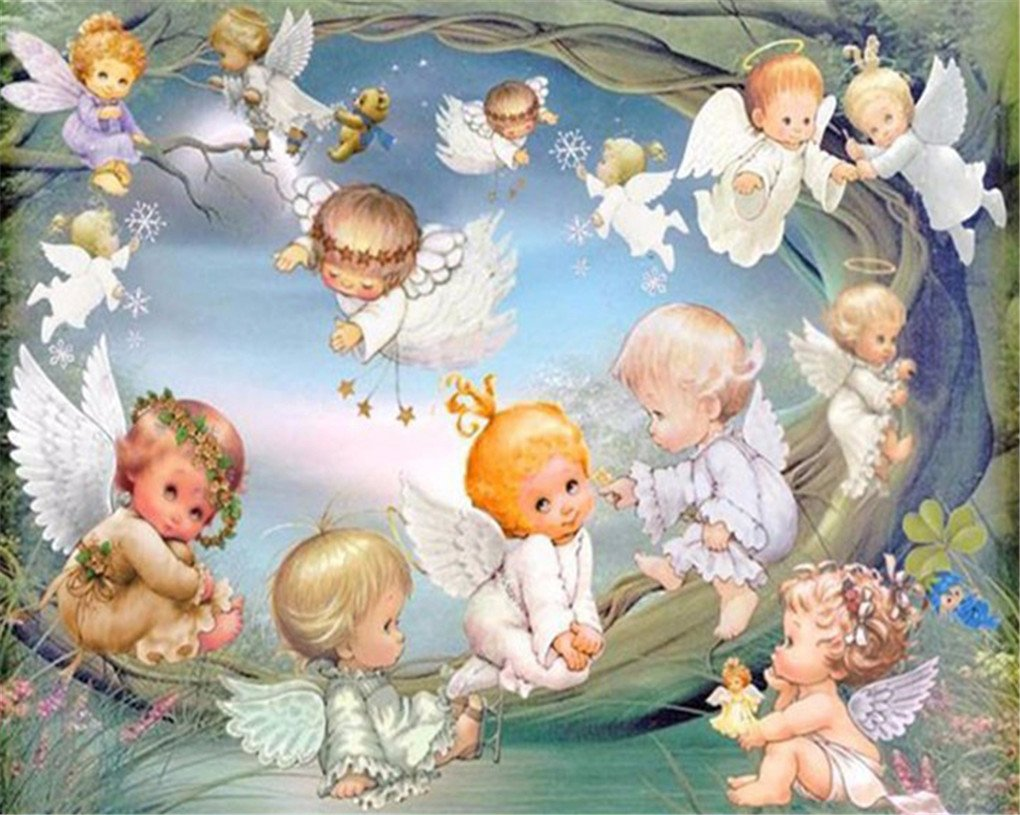 DIY 5d Diamod Mosaica The Play Little Angels Diamond Embroidery Angels Home Decoration