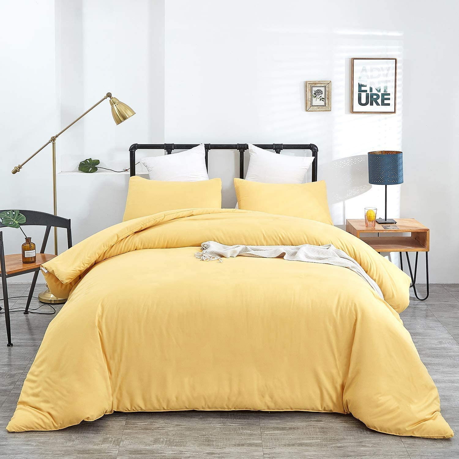 Amazon.com: Jumeey Yellow Comforter Sets King Light Yellow Bedding