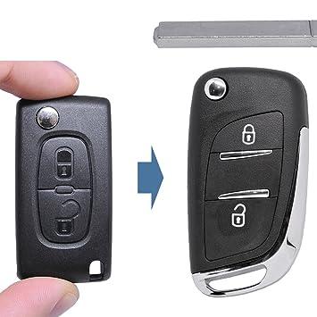 – Llave umbau Carcasa Mando a distancia nuevo diseño 2 botones VA2 en blanco para Citroen/Peugeot/Fiat