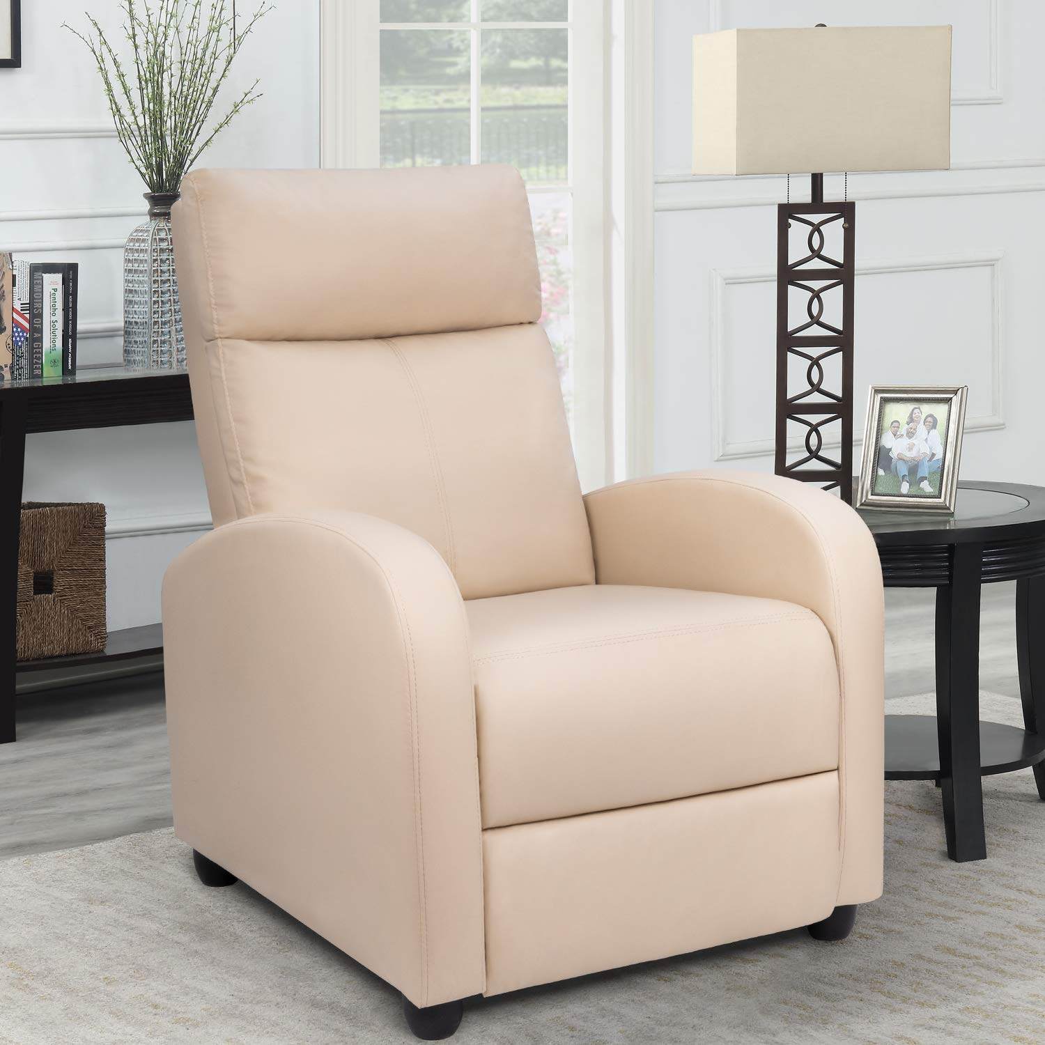 Sofa Recliner Modern Recliner Seat Club Chair Home Theater Seating (Beige)