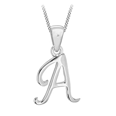 Tuscancy Silver Sterling Silver Rhodium Plated Diamond Initial Pendant on Curb Chain zomdGuH00