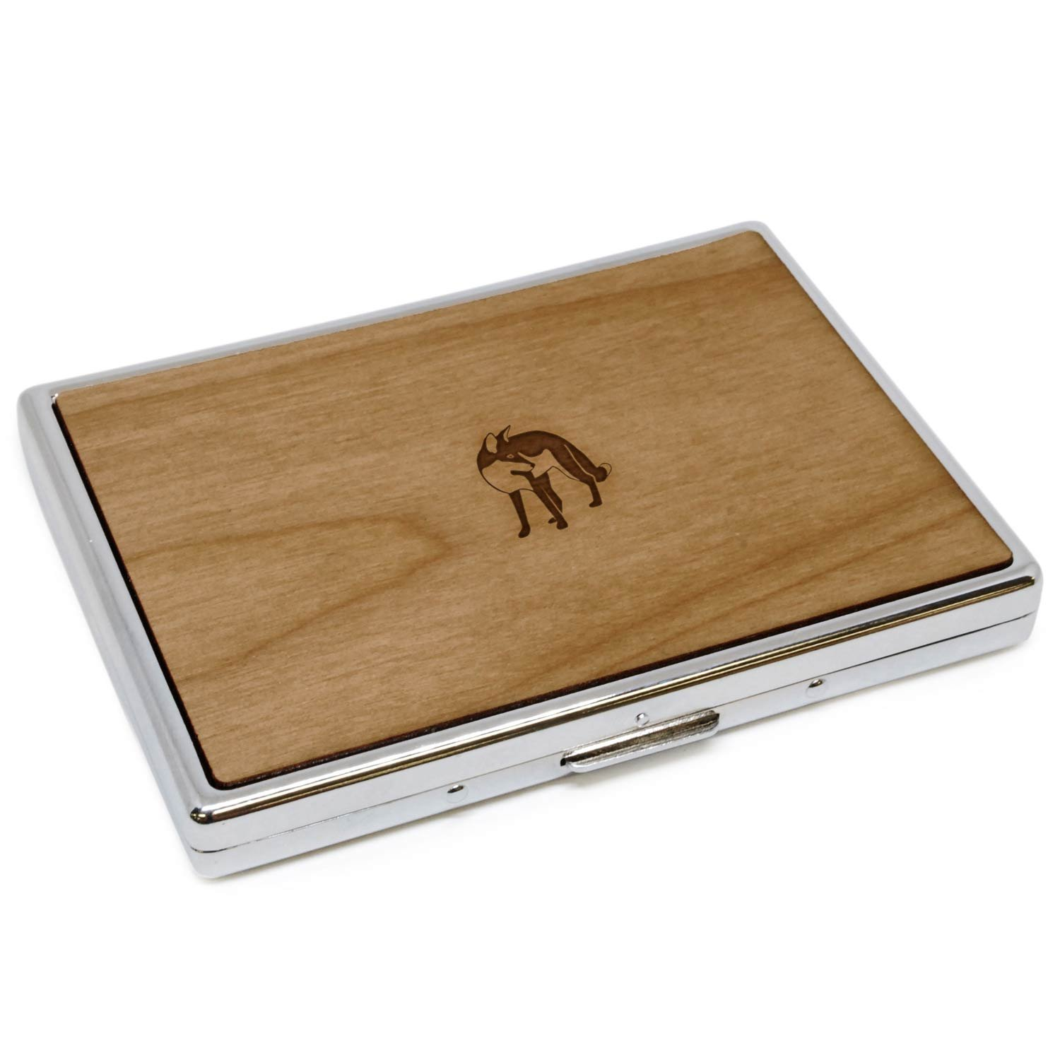 WOODEN ACCESSORIES COMPANY Wooden Cigarette Cases With Laser Engraved Fox Design - Stainless Steel Cigarette Case With Wooden Panel - Perfect Fit For Regular And King Size Cigarettes