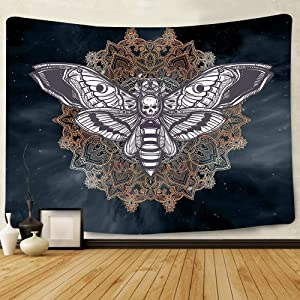 Dead Head Hawk Moth Wall Tapestry with Mandala Vintage White Skull Illustration Tapestry Blanket Mysterious Sky Wall Art Home Decor BedHead (80 x 60)
