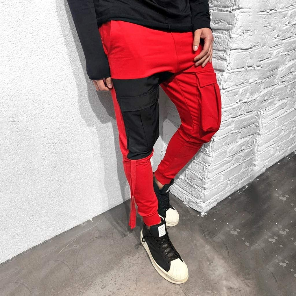Dainzuy Mens Casual Jogger Slim Fit Running Pants Sports Drawstring Patchwork Elastic Waist Sweatpants with Pockets