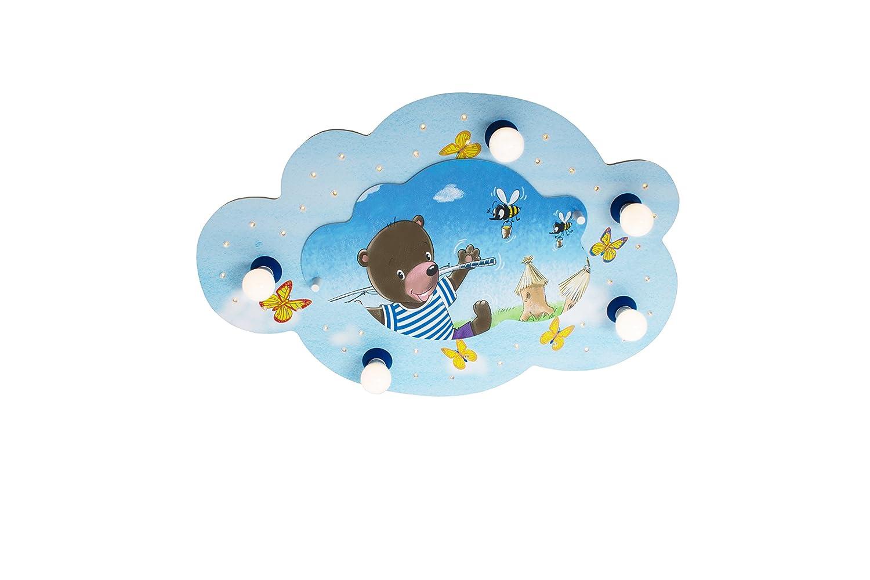 Elobra Bildwolke Bär mit Angel LED Deckenleuchte für Kinder, Holz, 40 W, Blau