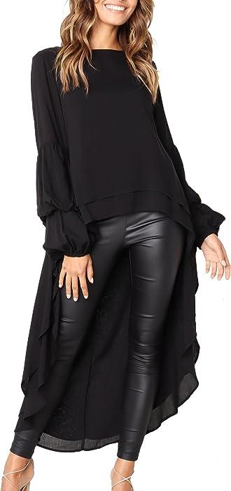 d43f0b750f0 PRETTYGARDEN Women s Lantern Long Sleeve Round Neck High Low Asymmetrical  Irregular Hem Casual Tops Blouse Shirt ...