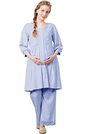 17dcb457529b3 Sweet Mommy Maternity and Nursing Embroidery Lace Puff Sleeve 3 Piece Pajama  Set at Amazon Women's Clothing store: