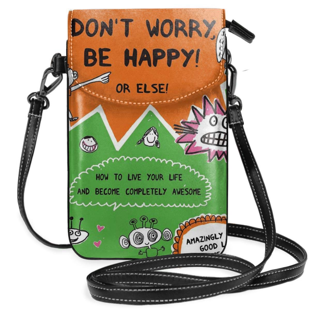 Hsanfwnzl Small Cell Phone Purse Dont Worry Be Happy Crossbody Bags with Shoulder Strap Coin Purse Wallet for Women,Girls