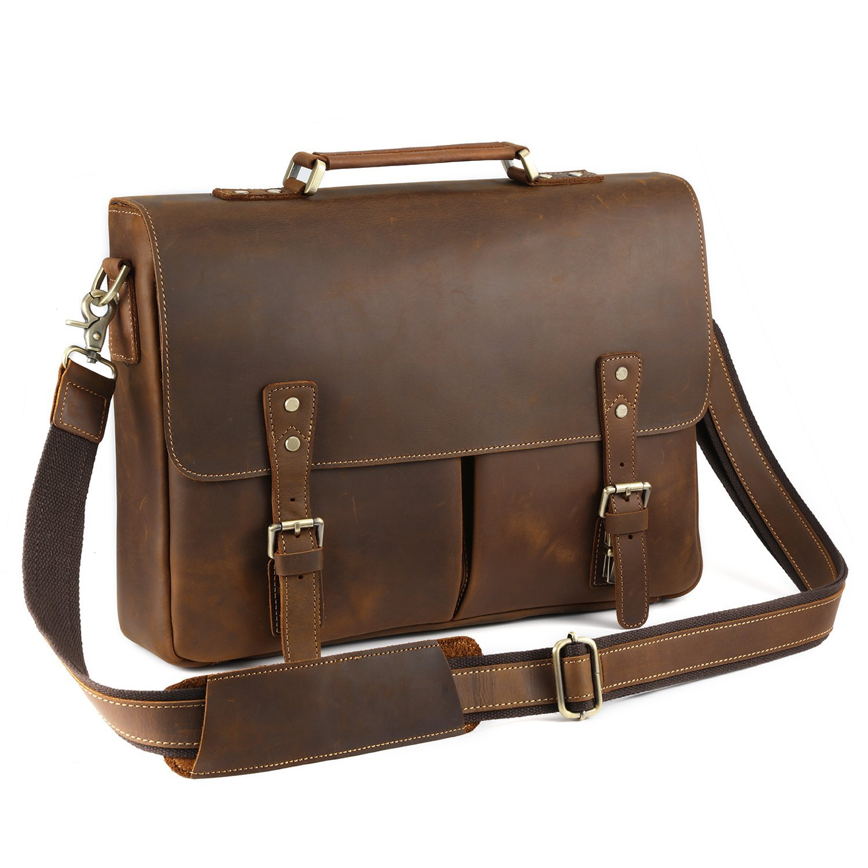 Kattee Vintage Leather Briefcase 15.7 Inch Laptop Messenger Bag Tote Brown