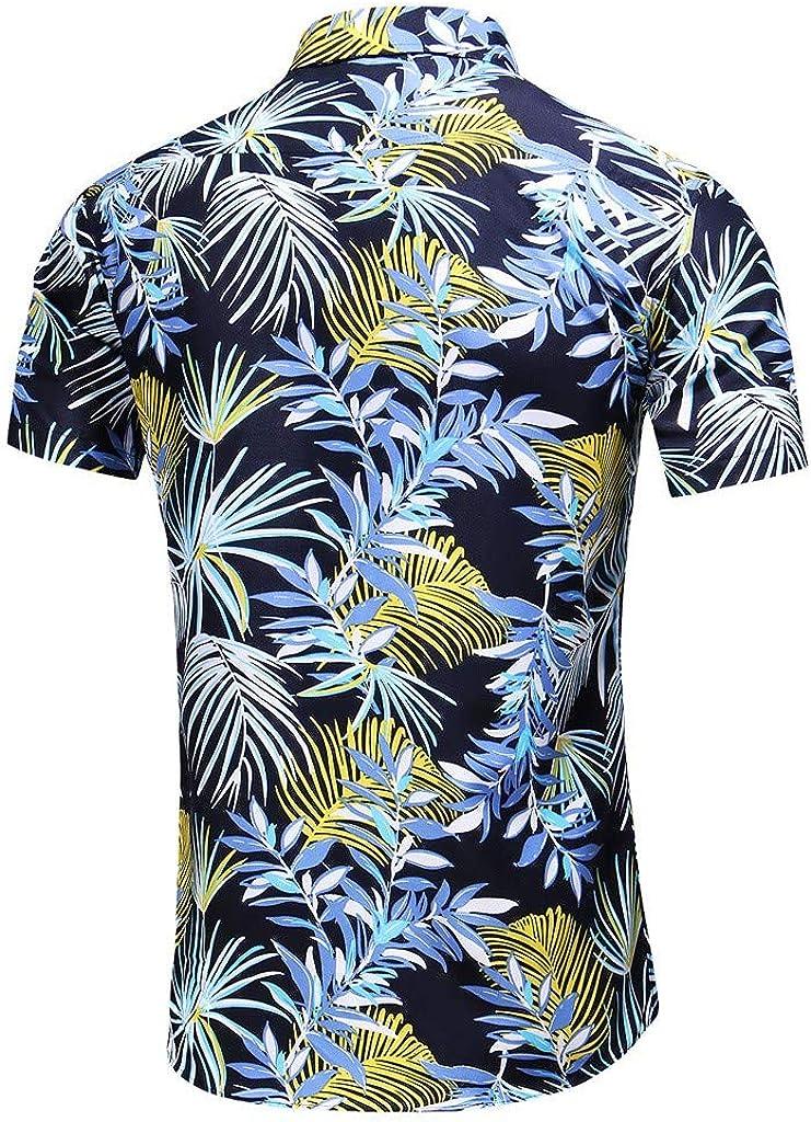Mens Printed Casual Button-Down Shirts,Tropical Hawaiian Quick Dry Short Sleeve Beach Shirt