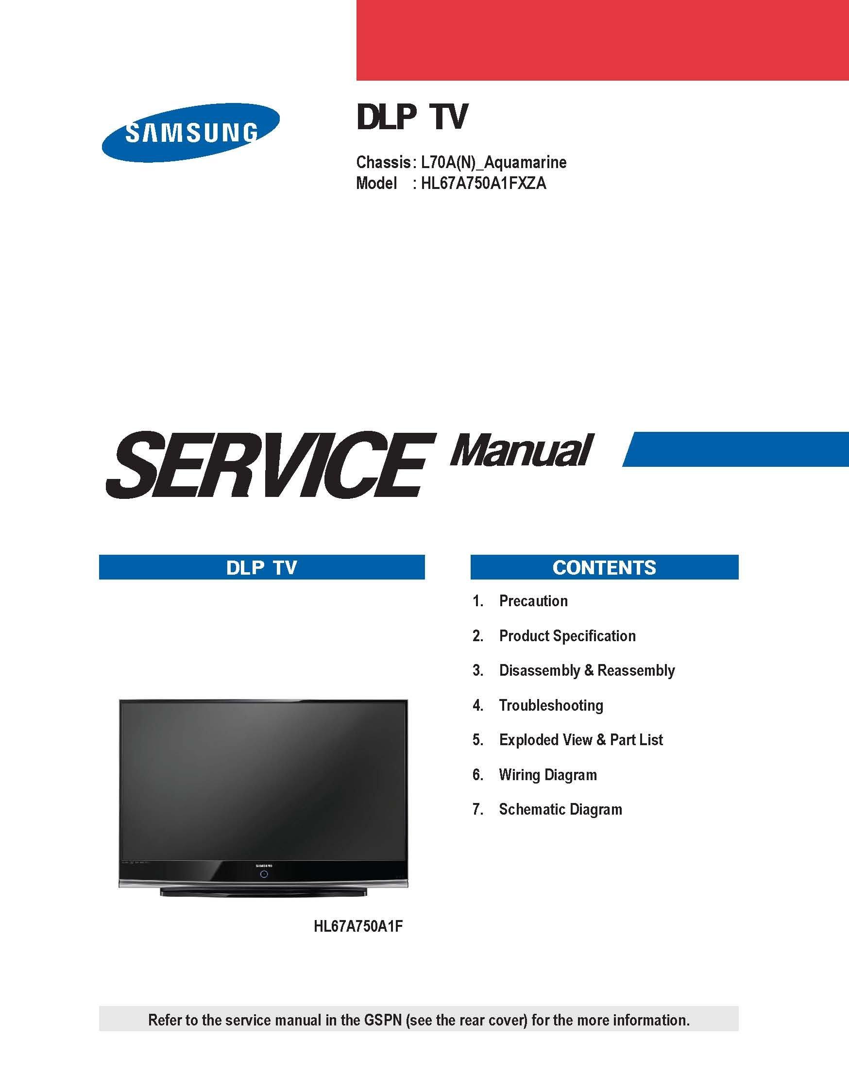samsung hl67a750a1f hl67a750a1fxzc dlp tv service manual
