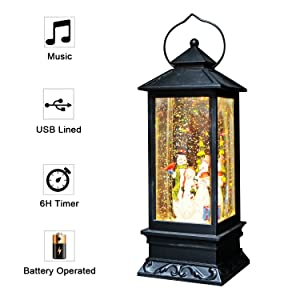 Eldnacele Singing Battery Operated Musical Lighted Christmas Snowman Water Glittering Swirling Snow Globe Lantern with Music Christmas Home Decoration and Gift, Snowman Family