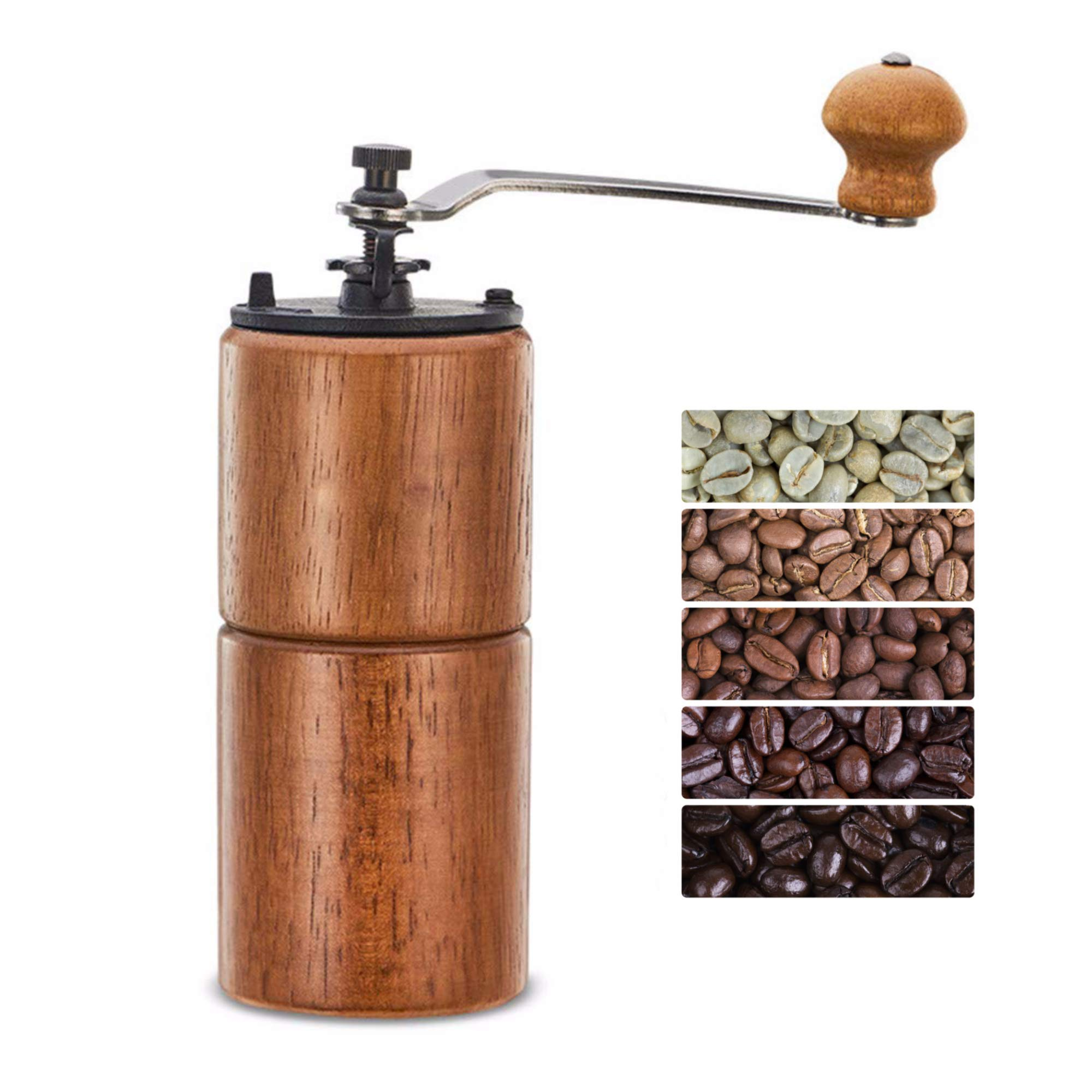 Fumao Hand Coffee Grinder Wooden Coffee Mill with Ceramic Burr, Large Capacity Dark Wood, Cast Iron Manual Crank, Portable Adjustable (Dark wood) by Fumao