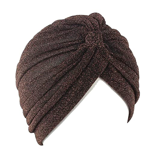 Amazon.com  Ladies Gold Wire Knitted Turban Hats for Women Chemo Bandana  Pleated Indian Cap Turbante Hat  Clothing 8d38c82b7a5
