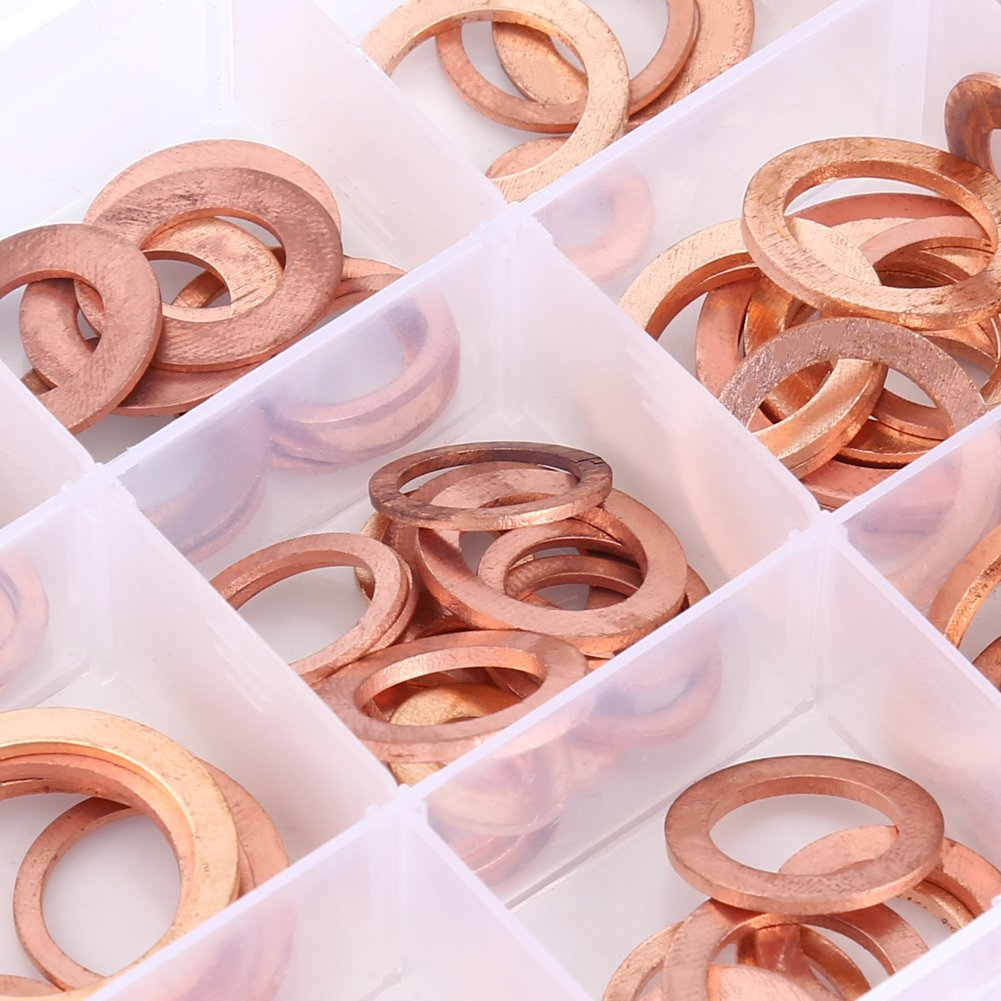 150pcs 15 Gr/ö/ßen Kupfer Flachscheiben Kupfer Ring Unterlegscheiben Assorted Set Kit 1 Box