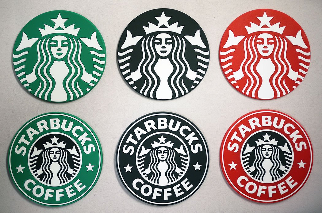 starbucks Starbucks old and new logo rubber coaster three colors 6 pieces set parallel import goods by Starbucks