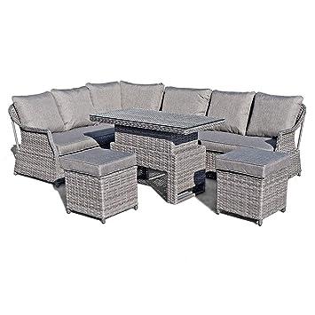 Brilliant Liv Outdoors Heritage Rattan Corner Sofa Dining Set With Rising Table Grey Inzonedesignstudio Interior Chair Design Inzonedesignstudiocom