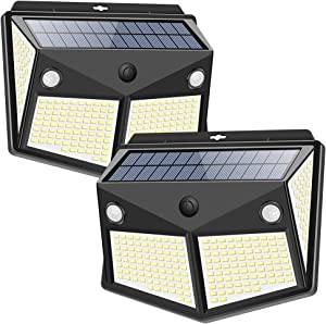 Solar Lights Outdoor 260LED, Wireless Double Solar Motion Sensor Lights with 300 Degrees Sensor Angle, IP65 Waterproof Solar Security Light for Garden Pathway Yard Fence Garage Deck (2 Pack)