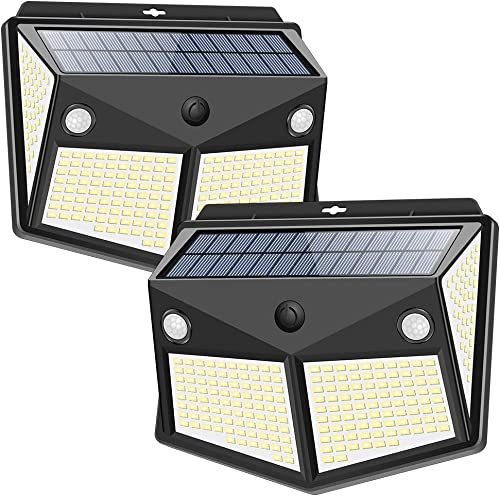 Solar Lights Outdoor 260LED, Wireless Double Solar Motion Sensor Lights with 300 Degrees Sensor Angle, IP65 Waterproof Solar Security Light for Garden Pathway Yard Fence Garage Deck 2 Pack