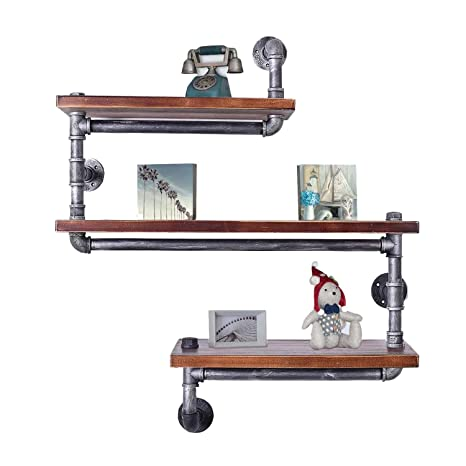3 Tier Industrie Rohr Regal Bucherregal Rustikale Holzleiter Wandregal Eisen Wasserleitung Design Diy Schwimmenden Regal