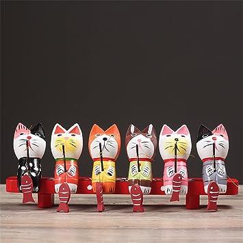 Sechs Fischen Katzen Holz Skulptur Sammlung Artwork Art Home Dekoration    Kreative Figuren Schreibtisch Ornamente Wohnzimmer
