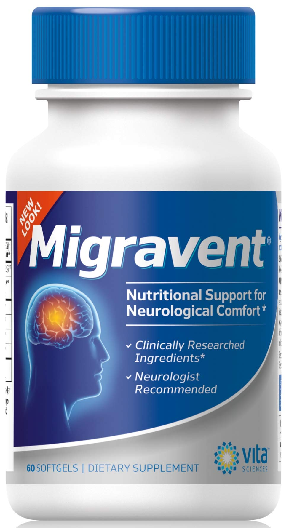 Migraine Relief - Advanced Powerful Supplement for Migraines & Headaches | Neurologists & Doctor Recommended | Natural | Migravent | Migraine Supplement Proprietary Remedy | Vita Sciences | 60 Caps
