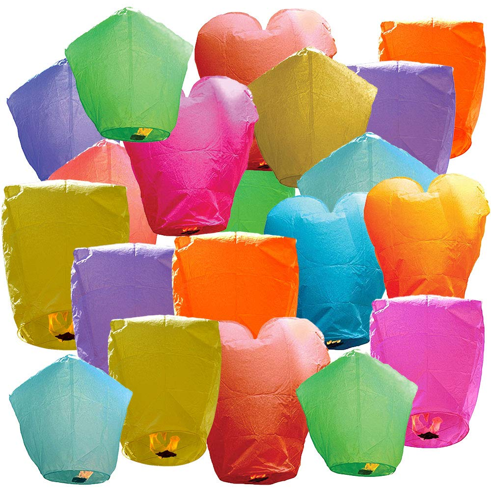 Just Artifacts 20 Eco Wire-free Assorted Chinese Flying Sky Lanterns (20-Pack, Assorted Shapes & Colors) - 100% Biodegradable, Environmentally Friendly! by Just Artifacts