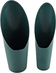 """HOME-X Soil Scoops, Small Gardening Tools, Potting Scoopers, Bonsai Tool, Set of 2 Different Sizes – Green- 6 ½"""" x 2 ½ """" and 6 ¼ """" x 1 ¾ """""""