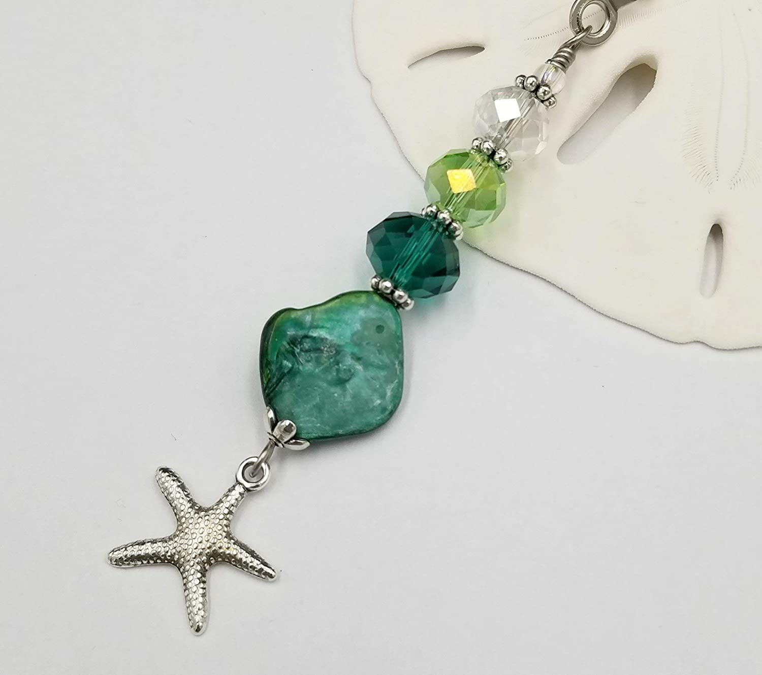 Fan or Light Pull Chain Green Seashell with Starfish