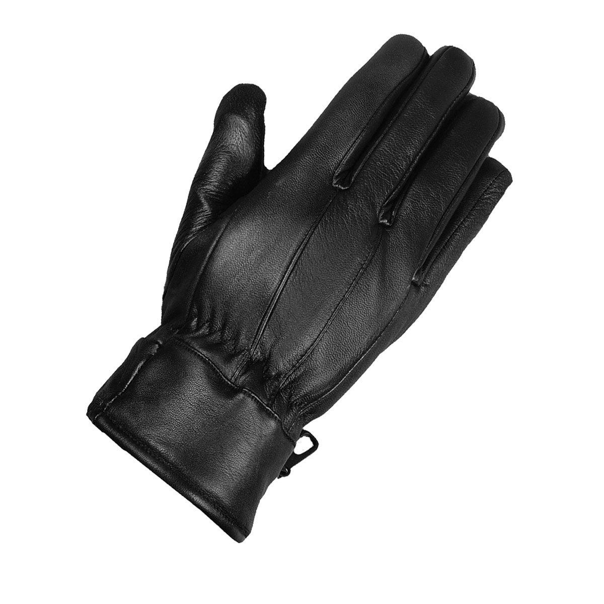 Premium Men's Winter Insulated Black Leather Gloves