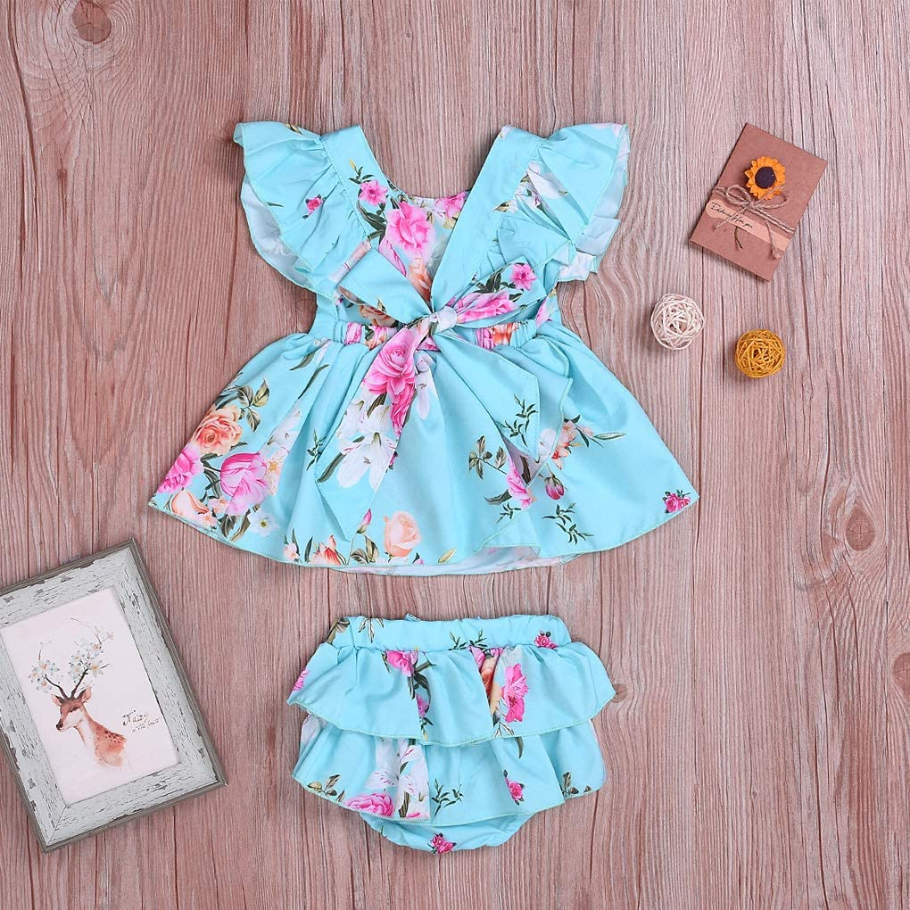 MetCuento Kids Toddler Baby Girls Shorts Outfits Set Floral Print Ruffle Dress Shirt Tops+Short Pants Summer Dresses 3Pc Clothes Set