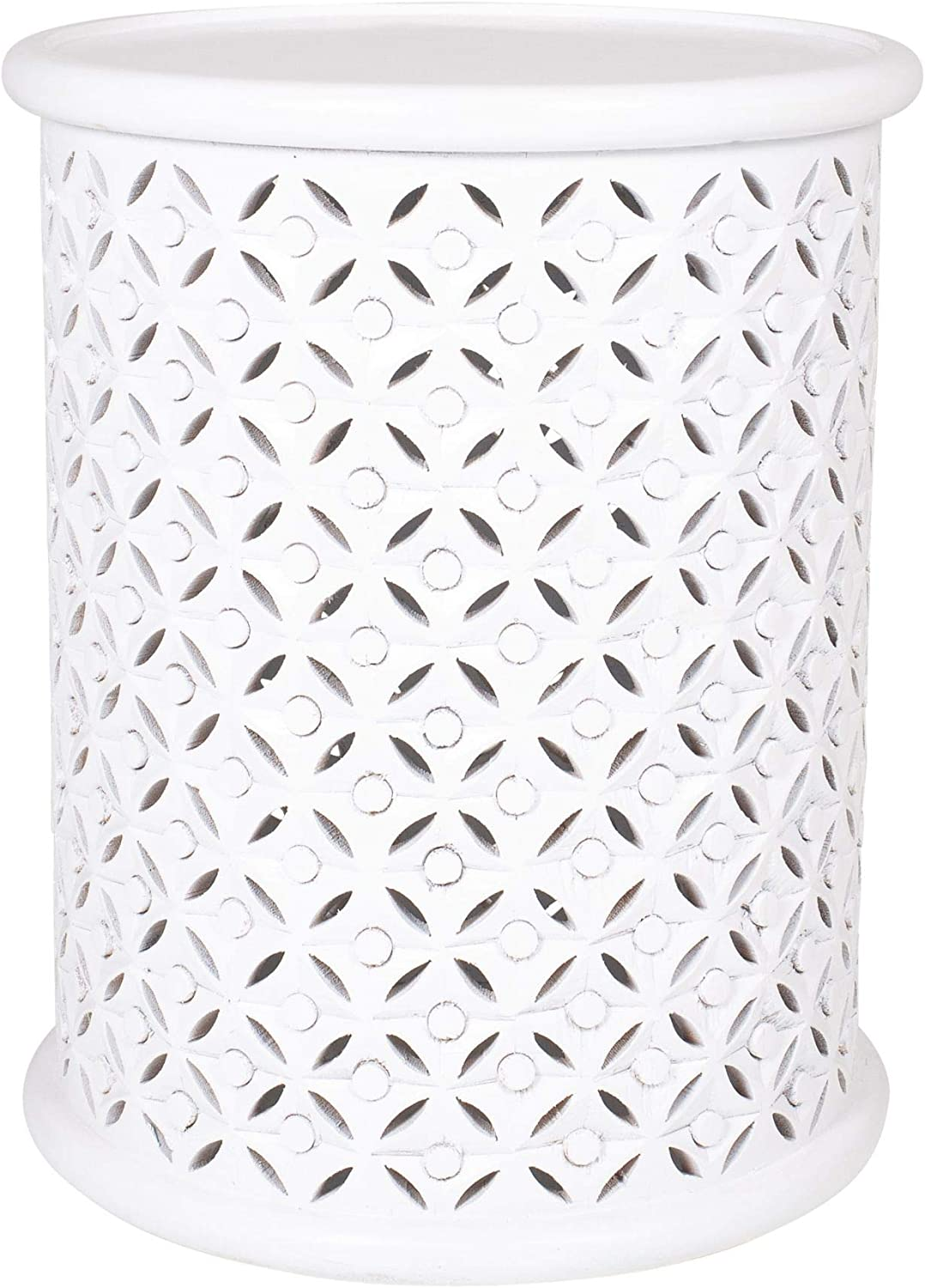 East at Main Gerlind Solid Wood Drum End Table, White