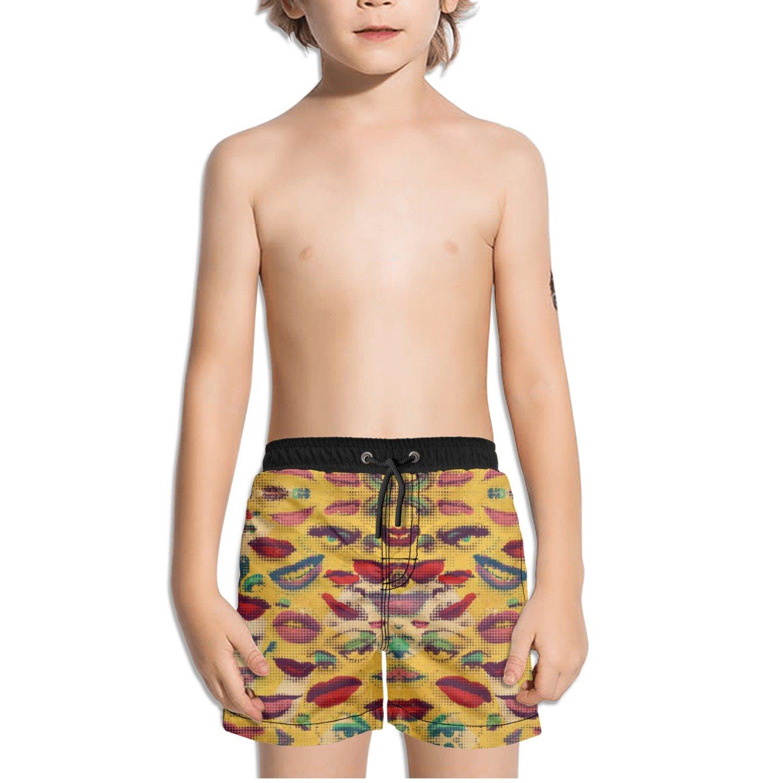 Ouxioaz Boys Swim Trunk Lips and Eyes Pixel Beach Board Shorts