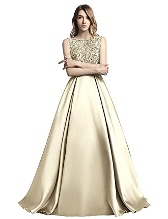 Sarahbridal Juniors Sequin Crystal Prom Evening Dresses 2018 Long Formal Ball Maxi Gowns Champagne US2