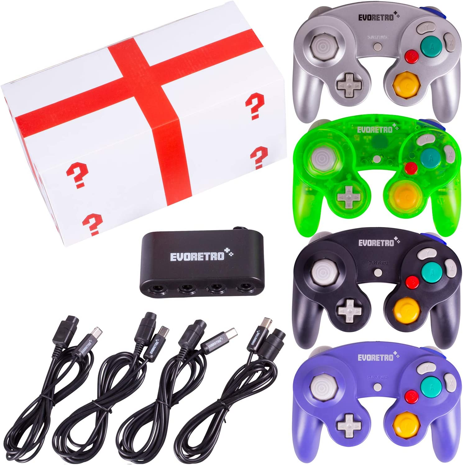 Amazon Com 4 Pack Gamecube Controller Bundle With 4 Extension Cords And A 4 Port Adapter For Switch Pc By Evoretro Electronics