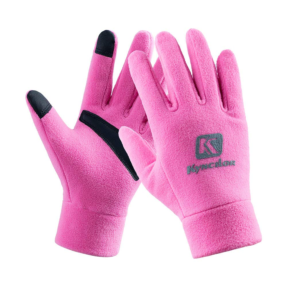 Unisex Winter Gloves, Warm Thermal Gloves Running Gloves Cold Weather Gloves Driving Riding Cycling Gloves Outdoor Sports Gloves for Men and Women (Pink 89#, L)