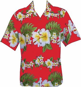 Camisa hawaiana para hombre con estampado de flores de hibisco para fiesta en la playa Aloha Camp hawaiano camisa para hombre - rojo - Medium
