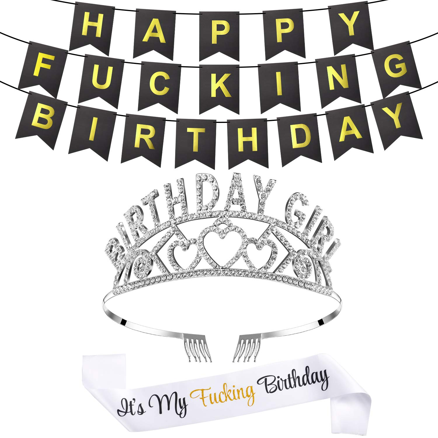 Large Happy FING Birthday Banner with Birthday Crown and Sash Birthday Party Accessories and Party Favors Gold Glitter Cake Topper for Birthday Party Decorations