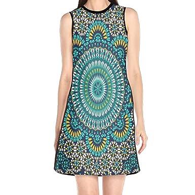 monilo mosaik muster womens lady sleeveless mini dress print party dress tank dress at amazon womens clothing store - Mosaik Muster